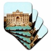 3dRose LLC Trevi Fountain Italy Ceramic Tile Coaster, Set of 8