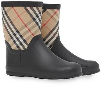 BURBERRY KIDS House Check rubber rain boots