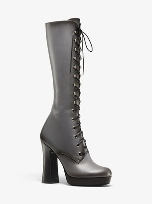 Michael Kors Deandra Burnished Calf Leather Platform Boot