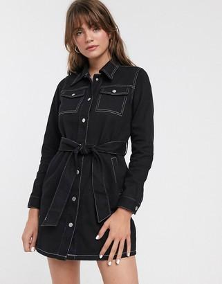 Glamorous belted shirt dress in denim-Black