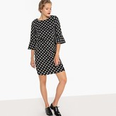 La Redoute Collections Fluted-Sleeve Polka Dot Shift Dress