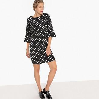 Fluted-Sleeve Polka Dot Shift Dress