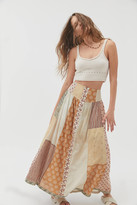 Urban Outfitters Andie Patchwork Button-Front Maxi Skirt