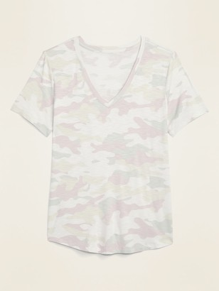 Old Navy Luxe Slub-Knit V-Neck Camo Tee for Women