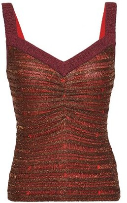 Herve Leger Ruched Metallic Striped Stretch-knit Top