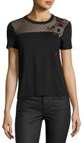 RED Valentino Short-Sleeve Tee w/ Point d'Esprit Yoke & Embroidered Ladybugs, Nero