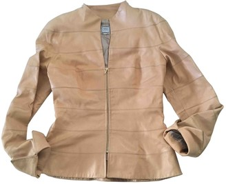 Herve Leger Beige Leather Leather Jacket for Women