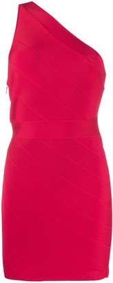 Herve Leger Icon asymmetric mini dress