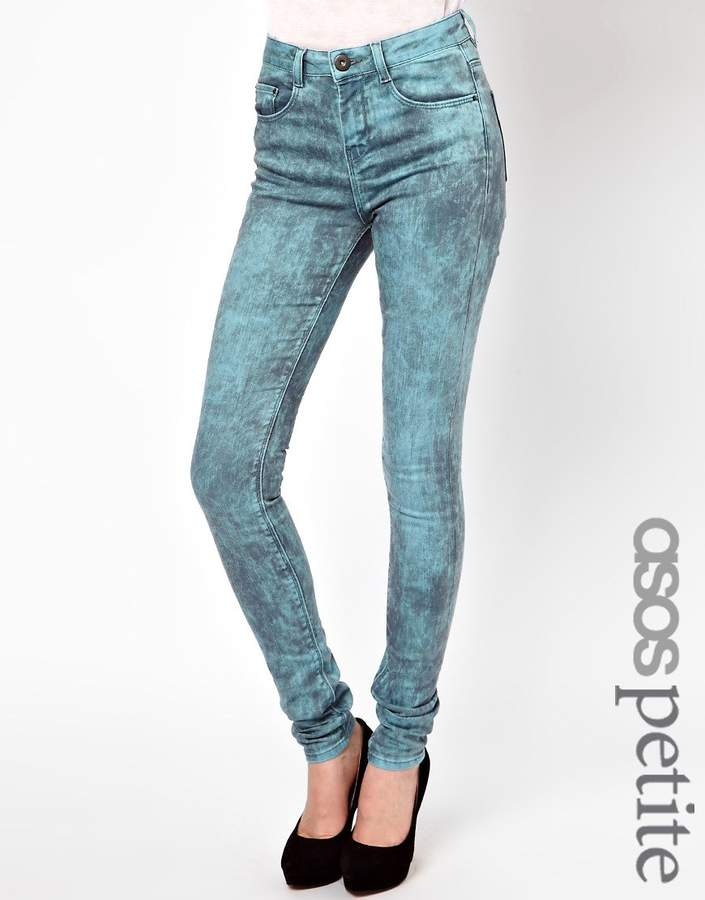 Asos Ridley Supersoft High Waisted Ultra Skinny Jeans In Aqua Marble Wash