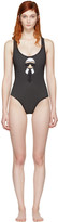 Fendi Black Perforated Karlito Swimsuit