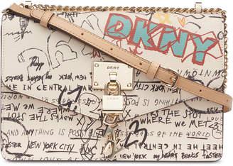 DKNY Elissa Leather Graffiti Logo Chain Strap Shoulder Bag
