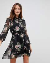 Influence High Neck Floral Dress With Ruffle Sleeves And Tie