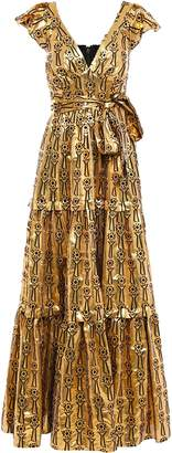 Temperley London Ruffled Tiered Printed Metallic Fil Coupe Maxi Gown