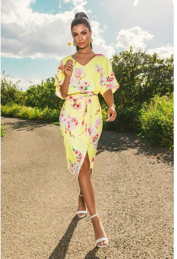 Quiz Sam Faiers Yellow and Pink Batwing Belted Midi Dress