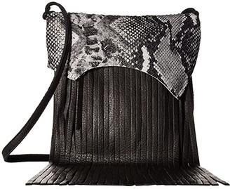 Leather Rock Rylen Fringe Crossbody (Snake Black/White/Black) Cross Body Handbags