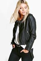 Boohoo Aimee Faux Leather Biker Jacket With Belt