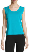 Ming Wang Textured Scoop-Neck Tank, Blue
