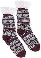 Wanted Women's Plush Heart Thermal Knee High Slipper Socks