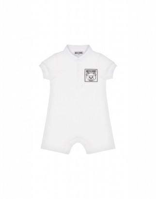 Moschino Teddy Label Onesie Unisex White Size 1/3m