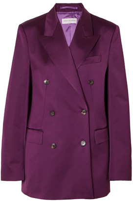 Dries Van Noten Double-breasted Cotton-blend Charmeuse Blazer