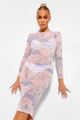 boohoo Marble Print Layered Slip Dress