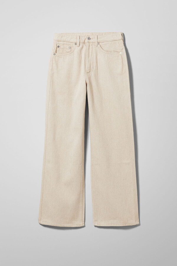 Thumbnail for your product : Weekday Veer Washed Linen Jeans - White