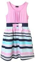 ZENZI Girls' Zenzi Sleeveless Knit Dress with Stripe Poplin Skirt
