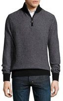 Neiman Marcus Textured Cashmere Quarter-Zip Sweater, Black/Derby Gray