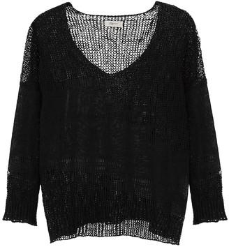 Crea Concept Black Loose-knit Linen-blend Jumper
