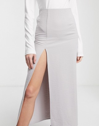 Weekday Amani straight midi skirt with side slit in light grey