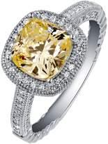 Lafonn Platinum Plated Sterling Silver Cushion-Cut Simulated Diamond Halo Ring