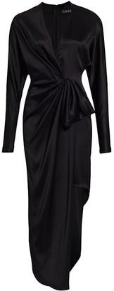 Cushnie Long Sleeve Draped Bow Asymmetrical Silk Sheath Dress