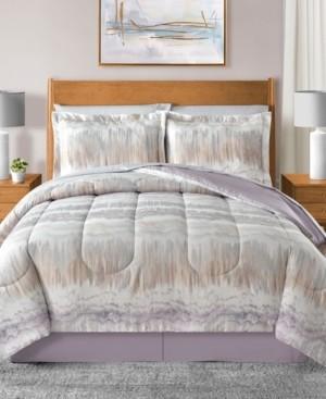 Sunham Marbelize Reversible 6-Pc. Light Gray Twin Comforter Set Bedding