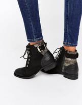 Aldo Buckle Lace Up Flat Boots