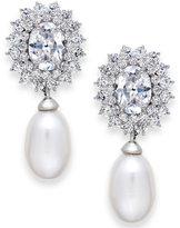 Arabella Cultured Freshwater Pearl (8mm) and Swarovski Zirconia Earrings in Sterling Silver