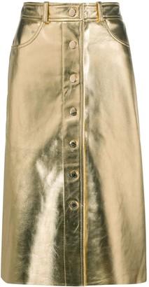 Sandro Paris Metallic Leather Midi Skirt