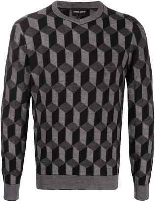 Giorgio Armani geometric 3D print sweater