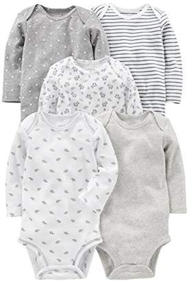 Carter's Simple Joys by Baby 5-Pack Neutral Long-Sleeve Bodysuit