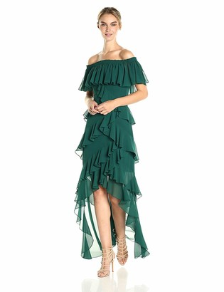 Badgley Mischka Women's Off The Shoulder Ruffle Gown