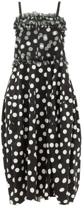 Lee Mathews Cherry Polka-dot Silk And Cotton Midi Dress - Black White