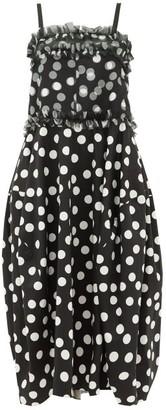 Lee Mathews Cherry Polka-dot Silk And Cotton Midi Dress - Womens - Black White