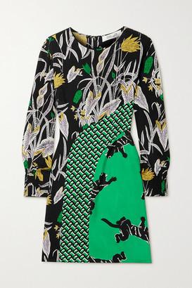 Diane von Furstenberg Jamie Printed Silk Crepe De Chine Mini Dress - Green