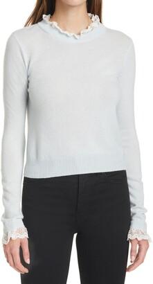 Autumn Cashmere Lace Cashmere Crewneck Sweater