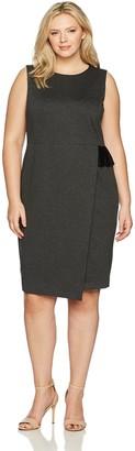Kasper Women's Plus Size Ponte Faux Wrap Sheath Dress