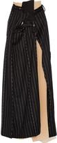 Maison Margiela Layered striped wool and angora-blend maxi skirt