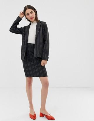 Ichi pinstripe skirt-Grey