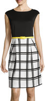 Studio 1 Cap-Sleeve Solid-Top Belted Fit-and-Flare Dress