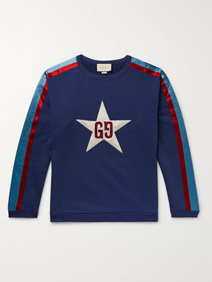 Gucci Logo-Appliqued Satin Twill-Trimmed Loopback Cotton-Jersey Sweatshirt