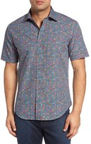 Bugatchi Shaped Fit Graphic Dot Print Sport Shirt