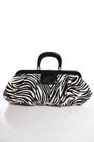 Lambertson Truex Black White Leather Pony Hair 4 Pocket Tote Handbag